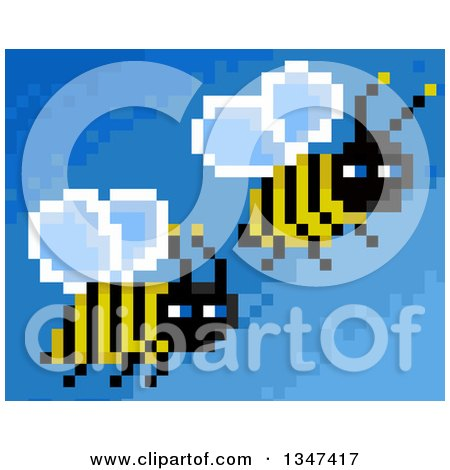 Clipart of Pixelated Flying Bees on Blue - Royalty Free Illustration by Prawny
