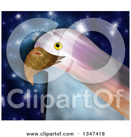 Clipart Of A Textured Bald Eagle Head Over Blue With Stars Royalty Free Illustration