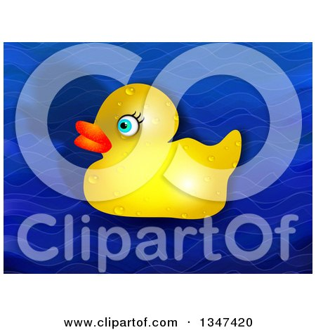 Clipart of a Wet Yellow Rubber Ducky and Shadow over Blue Waves - Royalty Free Illustration by Prawny