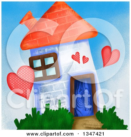 Clipart of a Painted Brick House of Love - Royalty Free Illustration by Prawny