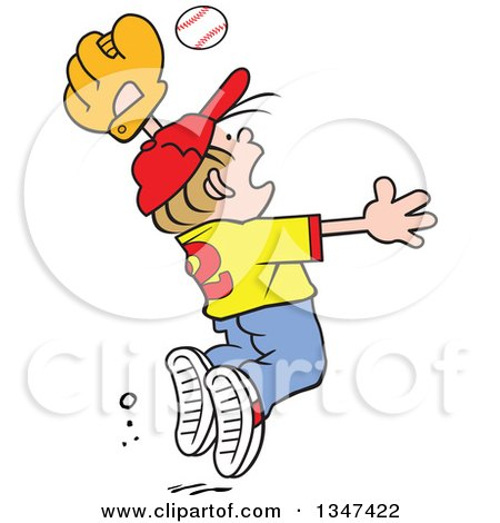 Clipart of a Cartoon Dirty Blond Caucasian Boy Jumping to Catch a Baseball - Royalty Free Vector Illustration by Johnny Sajem