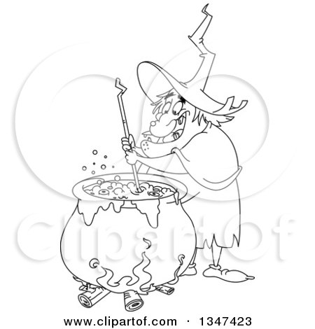 Clipart of a Cartoon Black and White Warty Fat Witch ...