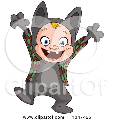 Clipart of a Cartoon White Halloween Boy Playing the Part in a Halloween Werewolf Costume - Royalty Free Vector Illustration by yayayoyo