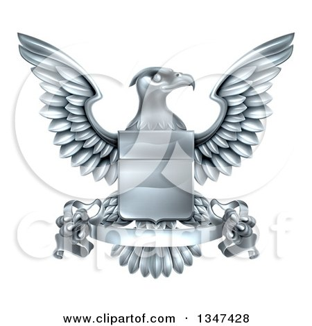 Clipart of a Silver Heraldic Coat of Arms Eagle with a Shield and Scroll Banner - Royalty Free Vector Illustration by AtStockIllustration
