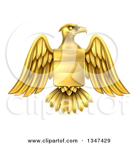 Clipart of a Gold Heraldic Coat of Arms Eagle with a Shield - Royalty Free Vector Illustration by AtStockIllustration