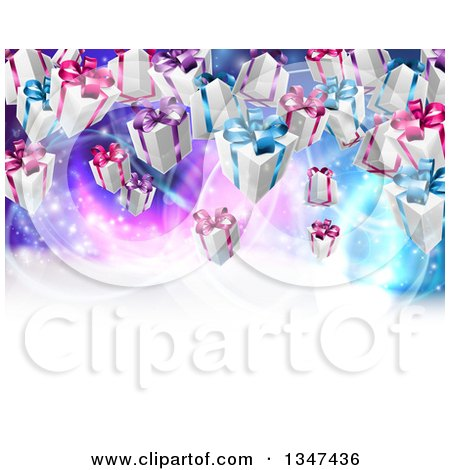 Clipart of a Background of Birthday or Christmas Gift Boxes over a Purple and Blue Background with White Text Space - Royalty Free Vector Illustration by AtStockIllustration