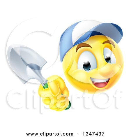Clipart of a Yellow Smiley Emoji Emoticon Gardener Wearing a Hat and Holding a Trowel Spade - Royalty Free Vector Illustration by AtStockIllustration