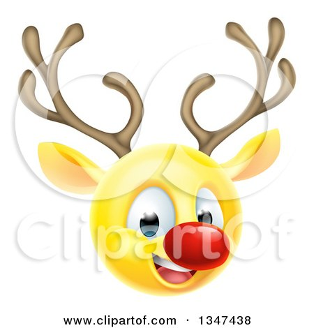 Clipart of a Yellow Smiley Emoji Emoticon Christmas Reindeer Rudolph - Royalty Free Vector Illustration by AtStockIllustration