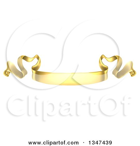 Clipart of a Golden Scroll Ribbon Banner - Royalty Free Vector Illustration by AtStockIllustration