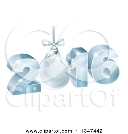 Clipart of a 3d Suspended Blue 2016 for the New Year, with a Bauble - Royalty Free Vector Illustration by AtStockIllustration