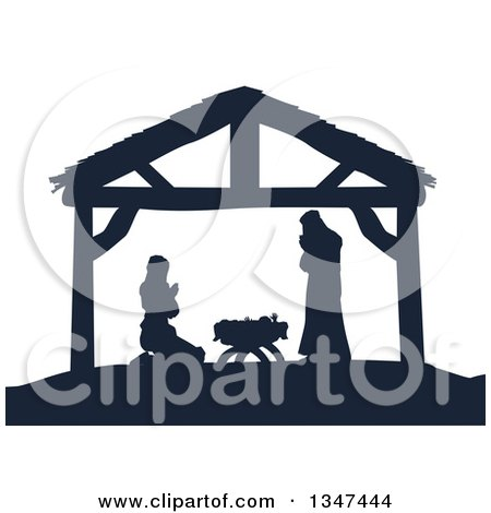 Clipart of a Navy Blue Silhouetted Mary and Joseph Praying over Baby Jesus in a Manger - Royalty Free Vector Illustration by AtStockIllustration
