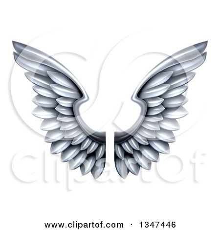 Clipart of a Pair of 3d Metal Silver Wings - Royalty Free Vector Illustration by AtStockIllustration