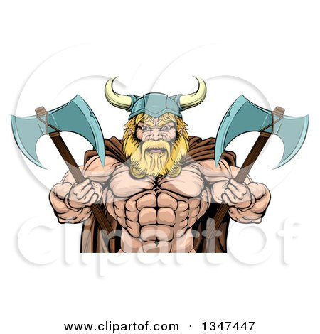 Clipart of a Cartoon Tough Muscular Blond Male Viking Warrior Wearing a Cape and Holding Axes - Royalty Free Vector Illustration by AtStockIllustration