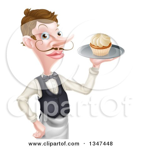 Clipart of a Cartoon Caucasian Male Waiter with a Curling Mustache, Holding a Cupcake on a Tray - Royalty Free Vector Illustration by AtStockIllustration
