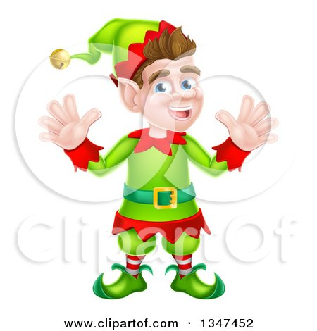 Clipart of a Cartoon Welcoming Brunette White Male Christmas Elf Waving with Both Hands - Royalty Free Vector Illustration by AtStockIllustration
