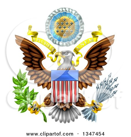 Clipart of the Great Seal of the United States Bald Eagle with an American Flag Shield, Holding an Olive Branch and Arrows, with E Pluribus Unum Scroll and Stars - Royalty Free Vector Illustration by AtStockIllustration
