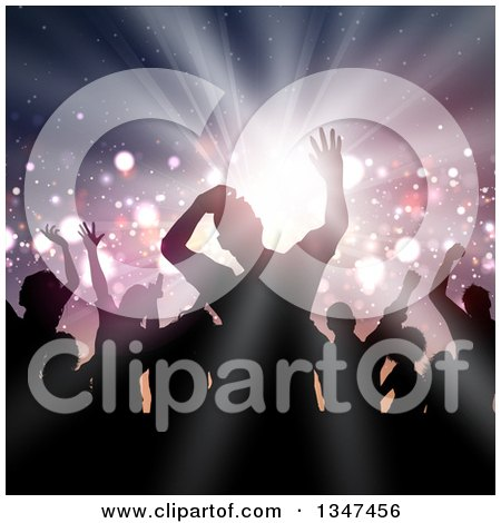 Clipart of a Silhouetted Group of Dancers over a Light Burst with Flares - Royalty Free Vector Illustration by KJ Pargeter