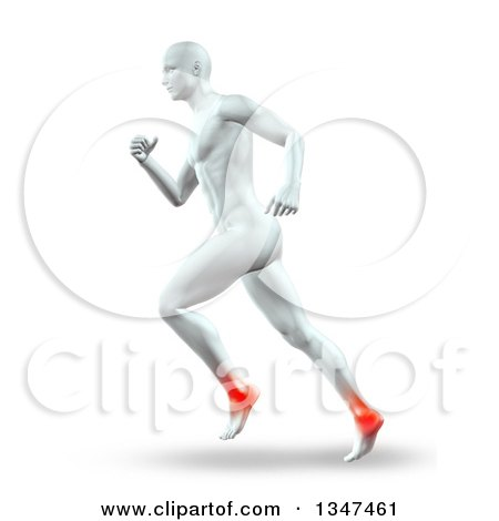 Clipart of a 3d Anatomical Man Running with Glowing Ankle Joints, on White - Royalty Free Illustration by KJ Pargeter
