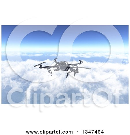 3d Metal Quadcopter Drone Flying Over The Clouds By KJ Pargeter