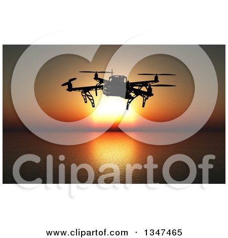 Clipart of a 3d Metal Quadcopter Drone Flying over an Ocean at Sunset - Royalty Free Illustration by KJ Pargeter