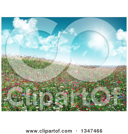 Clipart of a 3d Hill with Grass and Wildflowers Against a Sky with Sunshine and Clouds - Royalty Free Illustration by KJ Pargeter