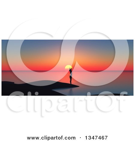 Clipart of a 3d Silhouetted Woman Stretching on a Beach at Sunset - Royalty Free Illustration by KJ Pargeter