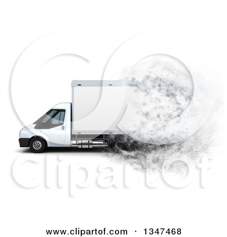 Clipart of a 3d Box Van from the Side, with Speed Effect, on White - Royalty Free Illustration by KJ Pargeter
