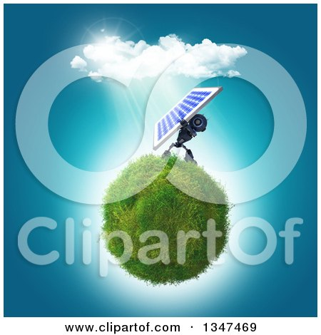 Clipart of a 3d Blue Robot Holding up a Solar Panel on a Grassy Globe - Royalty Free Illustration by KJ Pargeter