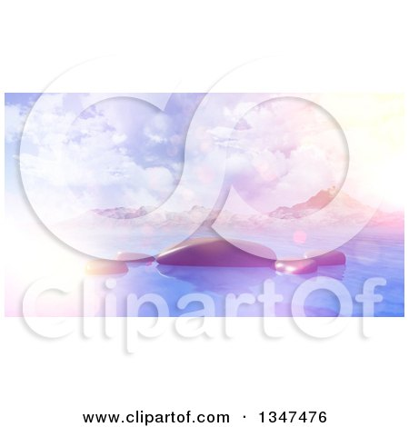 Clipart of a 3d Bay with Smooth Rocks Against Mountains, with Flares and Retro Effect - Royalty Free Illustration by KJ Pargeter