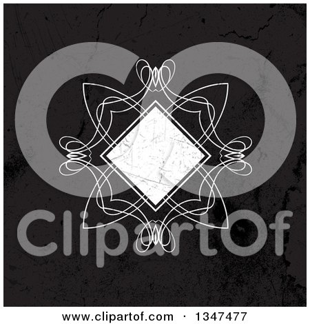 Clipart of a Grungy Distressed Diamond Swirl Frame over Black - Royalty Free Vector Illustration by KJ Pargeter