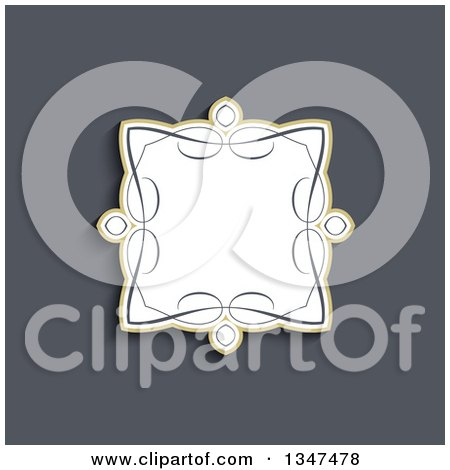 Clipart of a Decorative Swirl Frame over Blue - Royalty Free Vector Illustration by KJ Pargeter