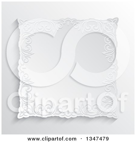 Clipart of a White Ornate Embossed Floral Frame over Shading - Royalty Free Vector Illustration by KJ Pargeter
