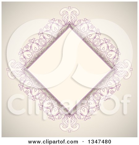 Clipart of a Vintage Pink and Beige Diamond Frame - Royalty Free Vector Illustration by KJ Pargeter
