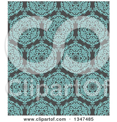 Clipart of a Seamless Background of a Turquoise Blue Circuolar Pattern over Gray - Royalty Free Vector Illustration by KJ Pargeter