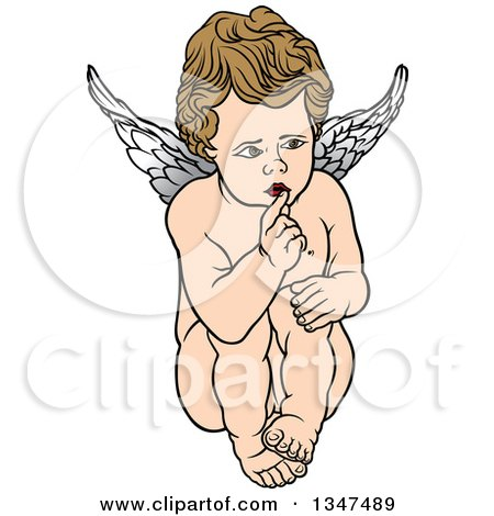Clipart of a Cartoon Brunette White Cherub Sitting and Shushing - Royalty Free Vector Illustration by dero