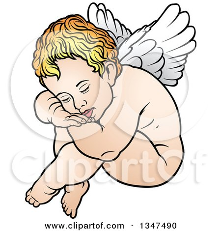 Clipart of a Cartoon Blond White Cherub Resting His Head on His Knees - Royalty Free Vector Illustration by dero