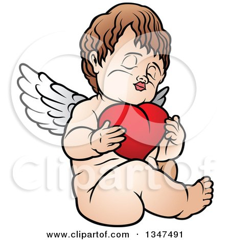 Clipart of a Cartoon Brunette White Cherub Sitting and Hugging a Heart - Royalty Free Vector Illustration by dero