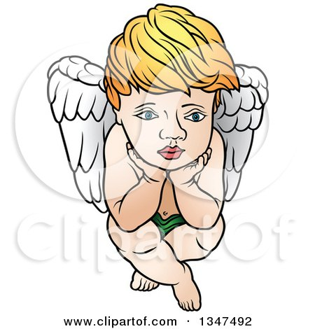 Clipart of a Cartoon Blond White Cherub Resting His Face in His Hands - Royalty Free Vector Illustration by dero