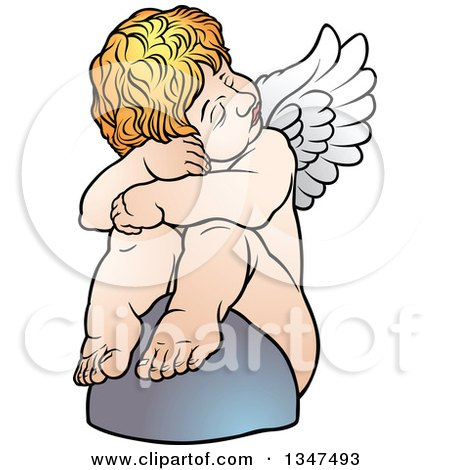 Clipart of a Cartoon Blond White Cherub Resting Against a Rock - Royalty Free Vector Illustration by dero
