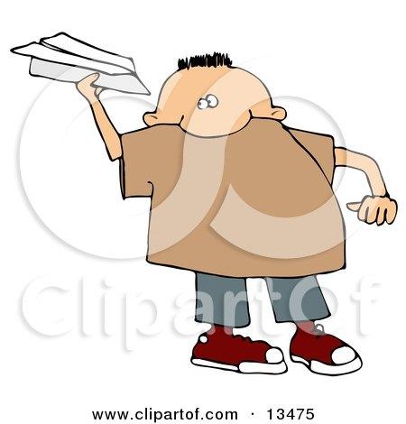 Mischievous Little Boy Throwing a Paper Airplane Clipart Illustration by djart