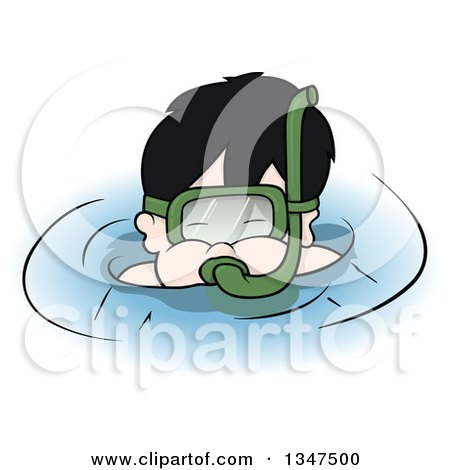Clipart of a Cartoon Boy Snorkeling - Royalty Free Vector Illustration by dero
