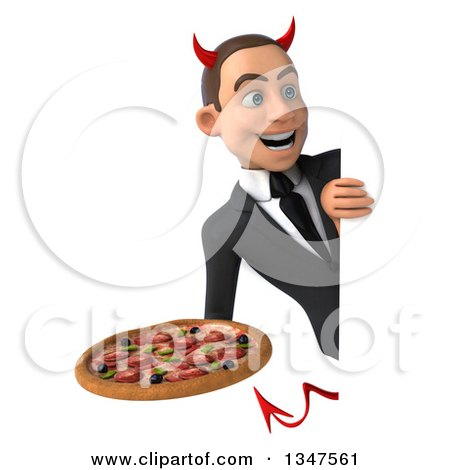 Clipart of a 3d Young White Devil Businessman Holding a Pizza Around a Sign - Royalty Free Illustration by Julos
