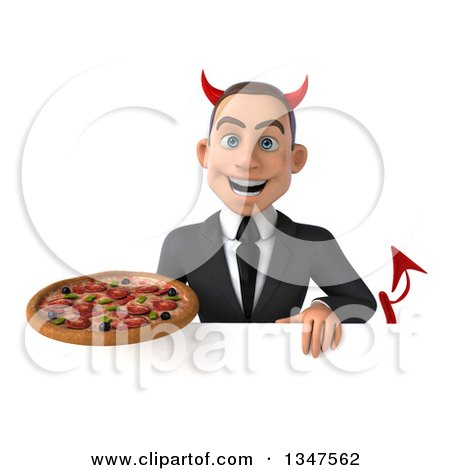 Clipart of a 3d Young White Devil Businessman Holding a Pizza over a Sign - Royalty Free Illustration by Julos