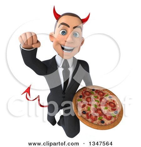 Clipart of a 3d Young White Devil Businessman Holding a Pizza and Flying - Royalty Free Illustration by Julos