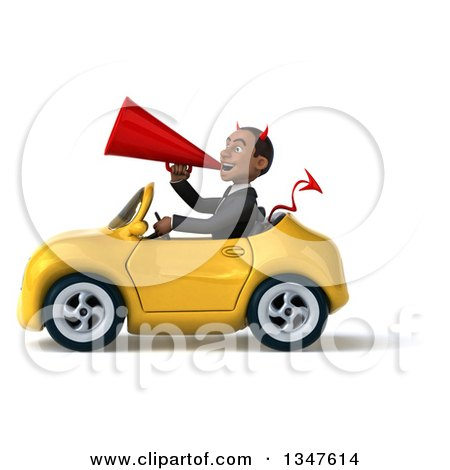 Clipart of a 3d Young Black Devil Businessman Announcing with a Megaphone and Driving a Yellow Convertible Car to the Left - Royalty Free Illustration by Julos