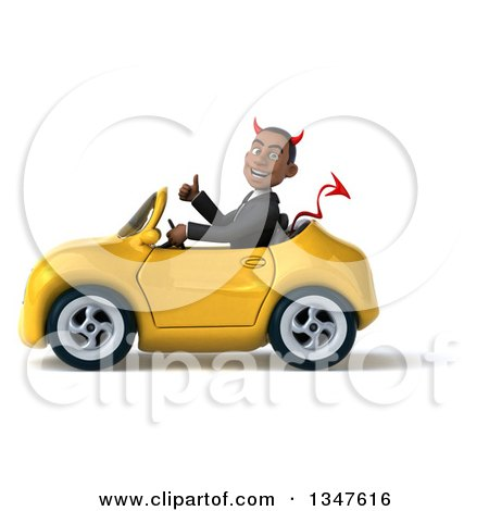 Clipart of a 3d Young Black Devil Businessman Giving a Thumb up and Driving a Yellow Convertible Car to the Left - Royalty Free Illustration by Julos