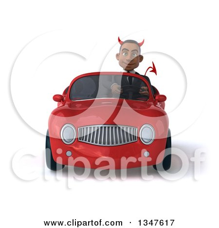 Clipart of a 3d Young Black Devil Businessman Driving a Red Convertible Car - Royalty Free Illustration by Julos