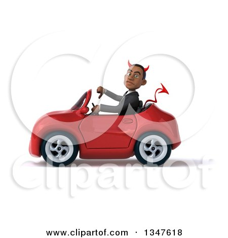 Clipart of a 3d Young Black Devil Businessman Giving a Thumb down and Driving a Red Convertible Car to the Left - Royalty Free Illustration by Julos