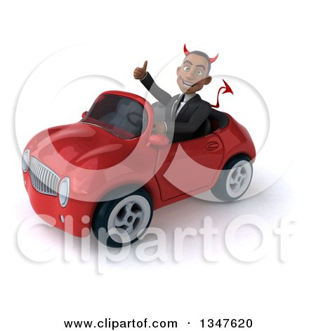 Clipart of a 3d Young Black Devil Businessman Giving a Thumb up and Driving a Red Convertible Car Slightly to the Left - Royalty Free Illustration by Julos
