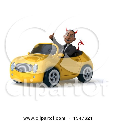 Clipart of a 3d Young Black Devil Businessman Giving a Thumb up and Driving a Yellow Convertible Car Slightly to the Left - Royalty Free Illustration by Julos